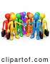 Clipart of a Group of Many 3d Colorful Diverse Business Men Stacking Their Hands by 3poD