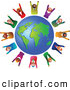 Clipart of a Group or Team of Celebrating Diverse Business People Around a Globe by Prawny