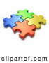 Clipart of a Interlocked Blue, Green, Orange and Yellow Jigsaw Puzzle Pieces, on White by Tonis Pan