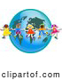 Clipart of a Ring of Children Around a World Globe by Prawny