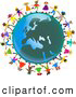 Clipart of a Ring of Global Kids Holding Hands Around a European Globe by Prawny
