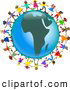 Clipart of a Ring of Global Kids Holding Hands Around an Africa Globe by Prawny