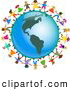 Clipart of a Ring of Global Kids Holding Hands Around an America Globe by Prawny