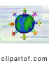 Clipart of a Ring of Global Kids Standing on a World Globe by Prawny