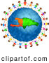 Clipart of a Ring of Stick Children Holding Hands Around a Haiti Globe by Prawny