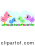 Vector Clipart of a Colorful Diverse Bird Family Standing on Flowers by
