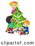 Vector Clipart of a Diverse Children Trimming a Christmas Tree Together by BNP Design Studio