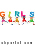Vector Clipart of a Diverse Group of Children Kids Spelling Girls by Prawny