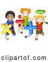 Vector Clipart of a Diverse School Children Playing with Math Shapes by BNP Design Studio