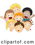 Vector Clipart of a Friendly Group of Happy Diverse Children Smiling and Waving by BNP Design Studio