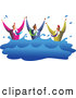 Vector Clipart of a Friendly Team of Diverse Men Drowning in Water by Prawny