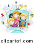 Vector Clipart of a Group of Happy White School Kids and Animals in an Educational TV by BNP Design Studio