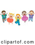 Vector Clipart of a Group of Various Energetic Diverse Kids Jumping by BNP Design Studio