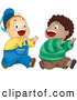 Vector Clipart of a Pair of Two Cute Boys Playing Chase by BNP Design Studio