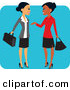 Vector Clipart of a Pretty Hispanic and Black Business Women Chatting on a Blue Square by Monica