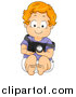 Vector Clipart of a Red Haired Caucasian Toddler Boy Pretending to Be a Photographer by BNP Design Studio