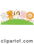 Vector Clipart of a Row of Animals: a Lamb, Cat, Dog, Pig and Lion Holding Hands on a Grassy Hill by BNP Design Studio