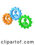 Vector Clipart of a Trio of Green, Orange and Blue People Inside Gears, Working Together to Solve a Problem by 3poD