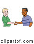 Vector Clipart of a White and Black Men Shaking Hands on White by LaffToon