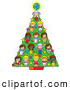 Vector Clipart of Cultural Children and a Globe Decrating a Holiday Christmas Tree by Maria Bell