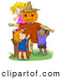 Vector Clipart of Cute Children Playing by a Scarecrow by BNP Design Studio