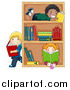 Vector Clipart of Diverse Children Reading Books by a Shelf by BNP Design Studio