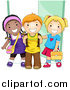 Vector Clipart of Diverse Happy School Kids Standing by a Doorway by BNP Design Studio