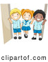 Vector Clipart of Diverse School Children Waving in Their Uniforms by BNP Design Studio