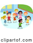 Vector Clipart of Diverse Stick Children Playing in a Class Room by BNP Design Studio