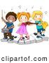 Vector Clipart of Happy Diverse School Kids Playing Instruments on a Keyboard by BNP Design Studio