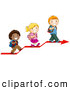 Vector Clipart of Three Cute Diverse School Children Walking up on an Arrow by BNP Design Studio