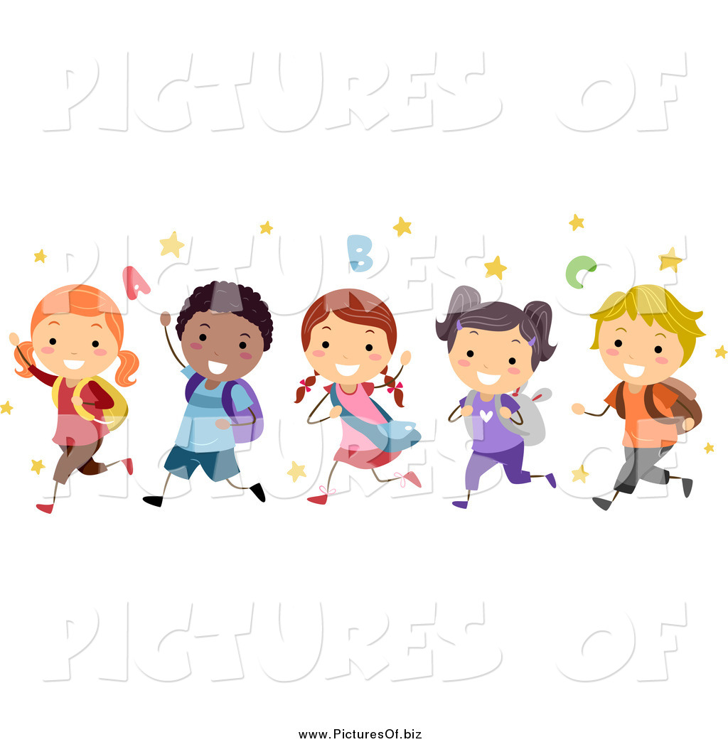 vector clipart of a group of happy diverse stick students running by rh picturesof biz Happy People Clip Art Happy Customer Clip Art