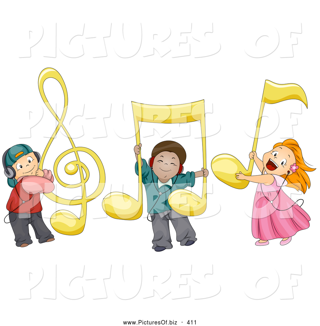 vector clipart of happy kids with large music notes by bnp design rh picturesof biz Music Symbols Clip Art Artist Clip Art