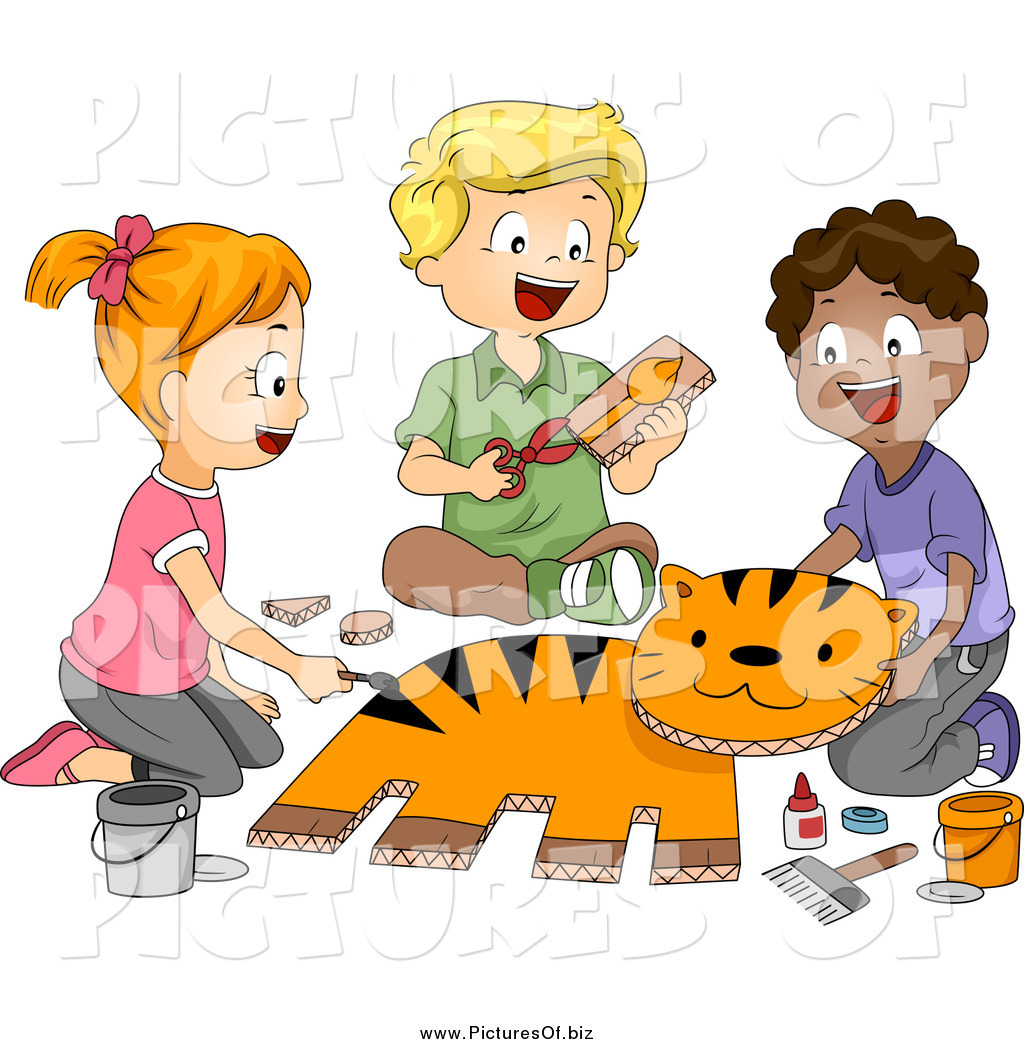 Vector Clipart Of Happy School Children Making A Tiger In