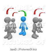 Clipart of 3d Blue Person Standing by Different Minded People by 3poD