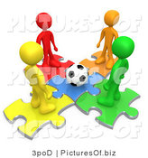 Clipart of 3d Colorful Soccer People Standing on Puzzle Pieces by 3poD