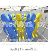 Clipart of 3d People in an Office Elevator by 3poD