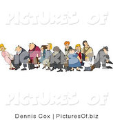 Clipart of a Crowded Group of Vacationers, Male and Female White and Black Children, Men and Women, with Luggage in an Airport by Djart