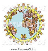Clipart of Diverse Stick People Forming Earth by NL Shop