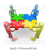 Picture of a Diverse 3d People Holding Connected Puzzle Pieces by 3poD