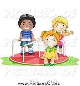 Vector Clipart of a Black Boy and Caucasian Girls Playing on a Playground Roundabout by BNP Design Studio
