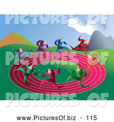 Vector Clipart of a Group of Businessmen Racing on a Round Pink Track by Prawny