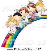 Vector Clipart of a Group of Cute Angels Waving and Riding down a Beautiful Rainbow Slide by BNP Design Studio
