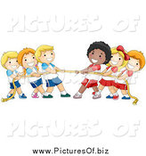 Vector Clipart of a Group of Happy Children Playing Tug of War with a Rope by BNP Design Studio