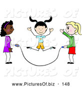 Vector Clipart of a Group of Three Diverse Stick Girls Jumping Rope by Pams Clipart