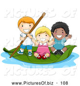 Vector Clipart of a Group of Three Tiny Children on a Leaf Boat by BNP Design Studio