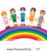 Vector Clipart of a Happy Group of Smiling Children Holding Hands and Standing on a Rainbow by BNP Design Studio