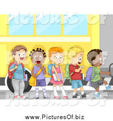 Vector Clipart of a Line of Excited School Children Boarding a Bus for a Field Trip or First Day of School by BNP Design Studio