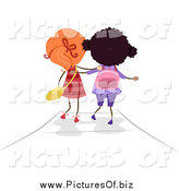 Vector Clipart of a Rear View of Two Stick Girls Walking to School by BNP Design Studio