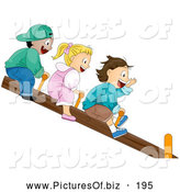 Vector Clipart of a Trio of Happy Children Riding on a See Saw by BNP Design Studio